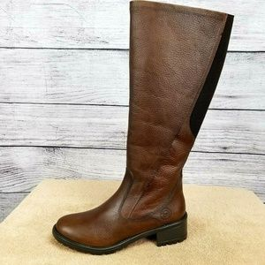 Leather Knee High Winter Snow Boots Brown 6-Wide